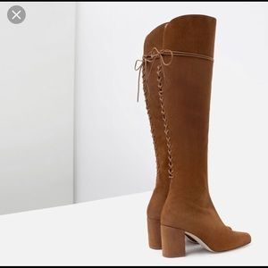 Zara Tan Suede Over The Knee Boots